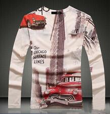 2017 NWT Men's Printed Base Just Cavalli Long Sleeves Graphic Cotton 3D T-shirt