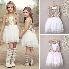 Lovely Baby Girls Flower Sequins Dress Bow Backless Party Gown Bridesmaid Dress