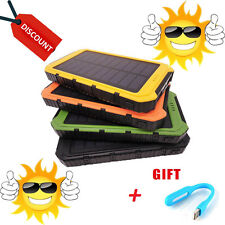Solar Charger Power Bank Dual Usb Portable Battery Phone Waterproof 10000mah RT