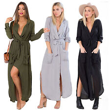 Womens Long Sleeve Chiffon Maxi Dress Casual Side Slit Belted Wrap Dresses Robe