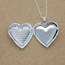Fashion Without Necklace Silver Plated Locket Pendant Love Heart Photo Charm