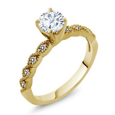 0.82Ct White Created Moissanite White Diamond 18K Yellow Gold Plated Silver Ring