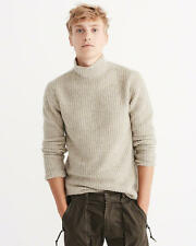 NWT,  Abercrombie & Fitch Mens Mock Neck Sweater - Medium - Oatmeal - Free Track