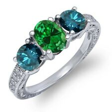 1.82 Ct Oval Green Simulated Emerald Blue Diamond 925 Sterling Silver Ring