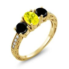 2.02 Ct Oval Canary Mystic Topaz Black Diamond 18K Yellow Gold Ring