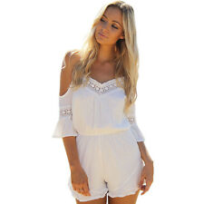 Women Lace Jumpsuit High Waist Gorgeous V-Neck Backless Playsuit Shorts Rompers