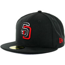 New Era 5950 San Diego Padres Fitted Hat BK BK WH RD (Black/Red) Men's MLB Cap