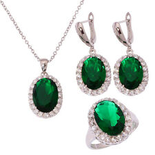 Green Quartz CZ Silver for Women Necklace Pendant Earring Ring Jewelry Set NT225