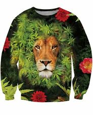 New 3D Trippy Sweatshirt Hoodie Psychedelic Lion Weed King Animal Size S To 5XL