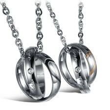 """Stainless Steel Lovers Heart """" Real Love """" Rings Pendant Necklace Valentine Gift"""