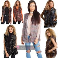 NEW LADIES MULTICOLOUR FAUX FUR HOOK FASTENING SLEEVELESS GILET SIZE M L