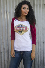 Original Cowgirl Co Vintage Look High Class Cowgirl Baseball Raglan Shirt Sm-2XL