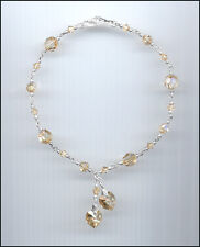 Beautiful Sterling Silver Charm Anklet w/ Swarovski GOLDEN SHADOW Crystal Hearts
