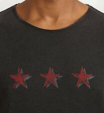 John Varvatos Star USA Men's Tri Star Crew T-Shirt Cotton Black $78 msrp NWT