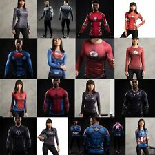 3D Comics Marvel Superhero Long Sleeve T-shirts Sport Cycling Gym Tee Men Women