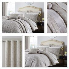 Catherine Lansfield Opulent Jacquard Champagne Luxury Quilt/Duvet Cover Bedding