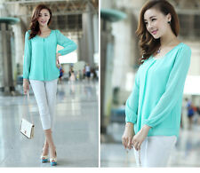 Womens Fashion Sexy Long Sleeve Casual Chiffon Tops Pleated Shirt Career Blouse