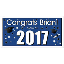 Class of 2017 Personalized Graduation Banner Blue Party Backdrop