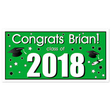 Class of 2017 Personalized Graduation Banner Green Party Backdrop
