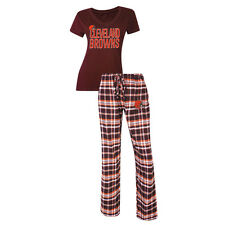 Cleveland Browns Women's Pajamas Tiebreaker NFL Sleep 2-pc Set Shirt Plaid Pants