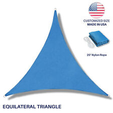 Custom Equilateral Triangle Blue Sun Shade Sail Canopy Awning Patio Pool Cover