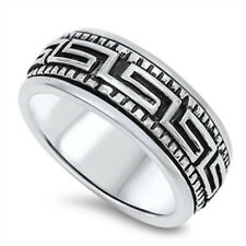 Men Women 10mm 925 Sterling Silver Oxidized Finish Greek Key Spinner Ring Band