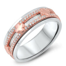 Women 7MM 925 Sterling Silver Pink Plated Spinner Ring Band CZ Pave Clover Cross
