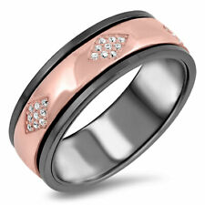 Women 7MM 925 Sterling Silver Pink Black Plated Spinner Ring Band CZ Pave Set