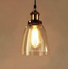 Industrial Vintage Loft Pendant Ceiling Light Glass Lampshade Brass Fitting Cafe