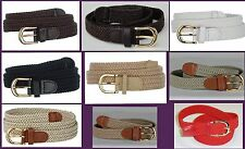 "Woman Elastic Braided Stretch Golf Belt Wholesale 15 colors 1"" Gold Buckle  6001"