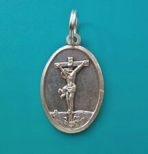 CROSS / CRUCIFIX JESUS silver medal Clip on Charm OR Pendant /mini keyring