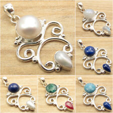 MOONSTONE & Other Gemstone Variation, 925 Silver Plated ANTIQUE STYLE Pendant