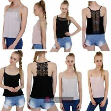 NEW LADIES BACK FRONT LACE INSERT DETAIL STRAPPY CAMI TOP UK 8-16