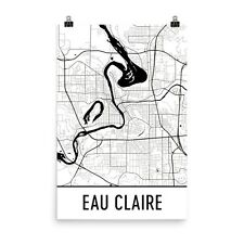 Eau Claire WI Street Map Poster