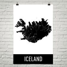 Iceland Street Map Poster