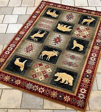 Wolf Moose Bear Wildlife Area Rug ~4 Sizes & Runner~ Southwest Cabin Lodge Rugs