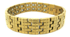 Golden Squares (two 5,000 gauss) - Gold Plated  Magnetic  Bracelet (SS2605002)