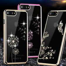 Apple iPhone 7 Plus 6 6s Luxury Clear TPU Bling Crystal Diamond Back Case Cover
