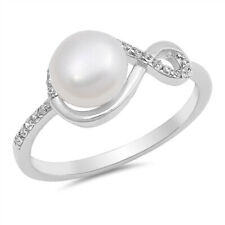 Women 9mm 925 Sterling Silver Freshwater Cultured Pearl & CZ Ladies Ring Band