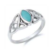 Men Women 9mm Sterling Silver Marquise Simulated Turquoise Celtic Knot Ring Band