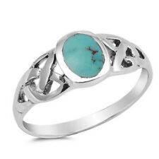 Men Women 8mm 925 Sterling Silver Simulated Turquoise Celtic Knot Ring Band