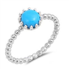 Women 8mm 925 Sterling Silver Simulated Turquoise Stackable Ring Band