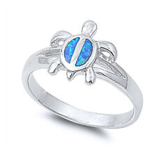 Women 12mm 925 Sterling Silver Simulated Blue Opal Turtle Ladies Ring Band