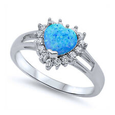Women 12mm 925 Sterling Silver Simulated Blue Opal Heart Ladies Ring Band