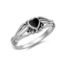 Women 7mm 925 Sterling Silver Simulated Black Onyx Heart Promise Ring Band