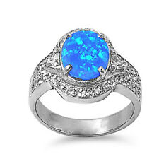 Women 16mm 925 Sterling Silver Simulated Blue Opal Ladies Ring Band