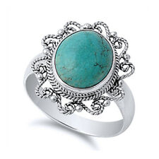 Women 19mm Sterling Silver Simulated Turquoise Vintage Style Cocktail Ring Band