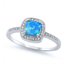 Women 9mm Sterling Silver Square Simulated Blue Opal & White CZ Ladies Ring Band