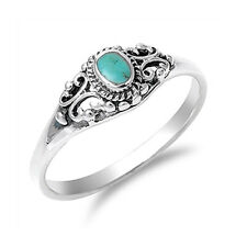 Women 7mm Sterling Silver Simulated Turquoise Vintage Style Promise Ring Band