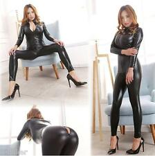 Sexy Women Shiny Wetlook Teddies Catsuit Jumpsuit Fetish Clubwear Costume